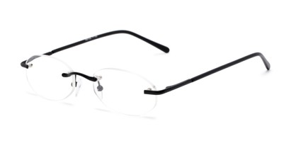 Angle of The Clinton Hill in Black, Women's and Men's Oval Reading Glasses