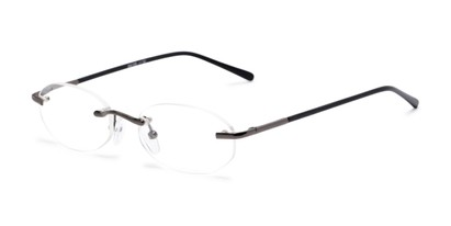 Angle of The Clinton Hill in Dark Grey, Women's and Men's Oval Reading Glasses