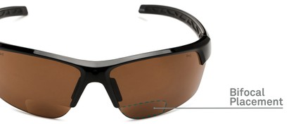 Detail of The Cloud Bifocal Safety Reader in Black with Amber Lens