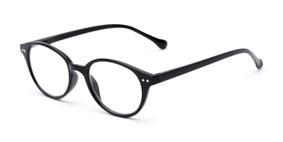 Angle of The Cocoa in Black, Women's and Men's Round Reading Glasses