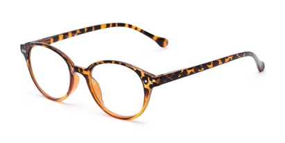 Angle of The Cocoa in Tortoise Fade, Women's and Men's Round Reading Glasses