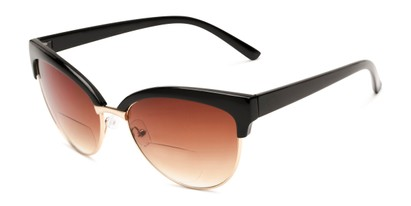 Angle of The Coconut Bifocal Reading Sunglasses in Black/Gold with Amber, Women's Browline Reading Sunglasses