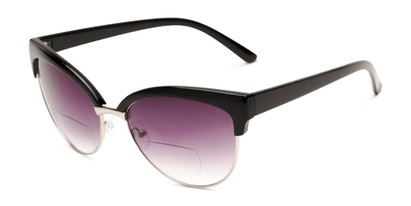 Angle of The Coconut Bifocal Reading Sunglasses in Black/Silver with Smoke, Women's Browline Reading Sunglasses