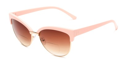 Angle of The Coconut Bifocal Reading Sunglasses in Light Pink/Gold with Amber, Women's Browline Reading Sunglasses