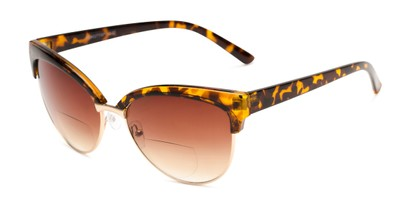 Angle of The Coconut Bifocal Reading Sunglasses in Tortoise/Gold with Amber, Women's Browline Reading Sunglasses