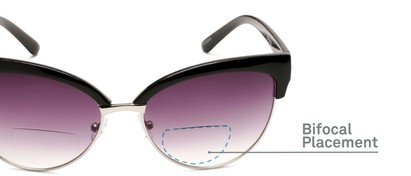 Detail of The Coconut Bifocal Reading Sunglasses in Black/Silver with Smoke