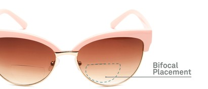 Detail of The Coconut Bifocal Reading Sunglasses in Light Pink/Gold with Amber