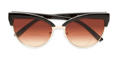 Folded of The Coconut Bifocal Reading Sunglasses in Black/Gold with Amber