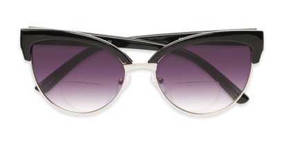 Folded of The Coconut Bifocal Reading Sunglasses in Black/Silver with Smoke