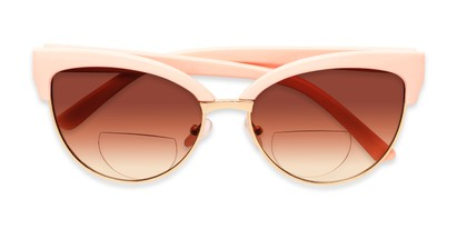 Folded of The Coconut Bifocal Reading Sunglasses in Light Pink/Gold with Amber