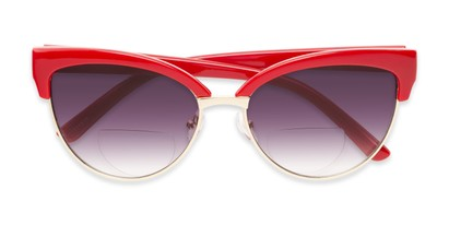 Folded of The Coconut Bifocal Reading Sunglasses in Red/Gold with Smoke