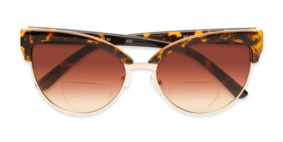 Folded of The Coconut Bifocal Reading Sunglasses in Tortoise/Gold with Amber