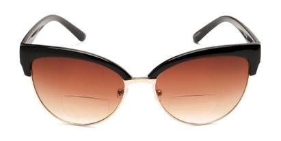 Front of The Coconut Bifocal Reading Sunglasses in Black/Gold with Amber