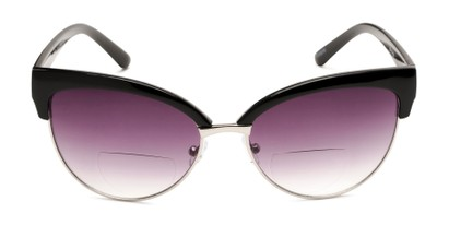 Front of The Coconut Bifocal Reading Sunglasses in Black/Silver with Smoke
