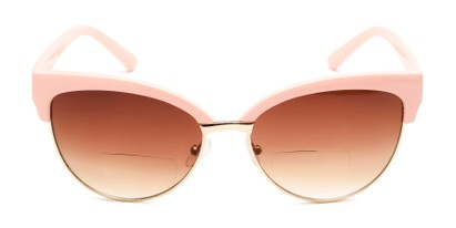 Front of The Coconut Bifocal Reading Sunglasses in Light Pink/Gold with Amber