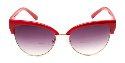 Front of The Coconut Bifocal Reading Sunglasses in Red/Gold with Smoke