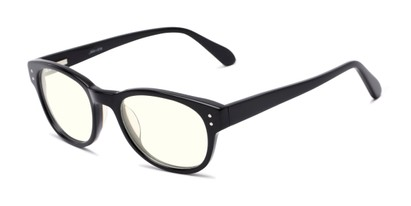 Angle of The College Blue Light Blocking Reader in Black, Women's and Men's Oval Reading Glasses