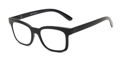 Angle of The Collegiate in Black, Women's and Men's Retro Square Reading Glasses