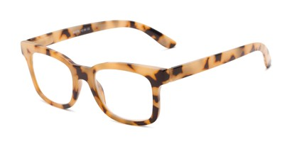 Angle of The Collegiate in Tan Tortoise, Women's and Men's Retro Square Reading Glasses