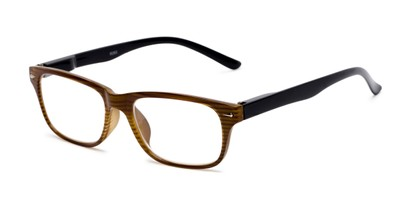 Angle of The Colonial in Brown Stripe, Women's and Men's Retro Square Reading Glasses