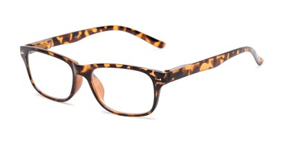 Angle of The Colonial in Tan Tortoise, Women's and Men's Retro Square Reading Glasses