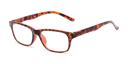 Angle of The Colonial in Red Tortoise, Women's and Men's Retro Square Reading Glasses