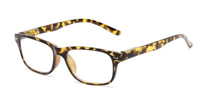 Angle of The Colonial in Yellow Tortoise, Women's and Men's Retro Square Reading Glasses