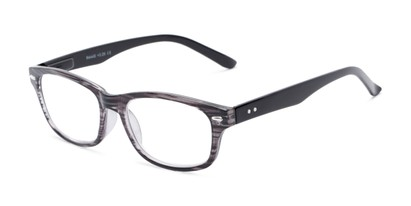 Angle of The Comet in Grey Stripe, Women's and Men's Rectangle Reading Glasses
