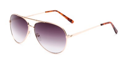 Angle of The Conrad Reading Sunglasses in Gold with Smoke, Women's and Men's Aviator Reading Sunglasses