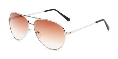 Angle of The Conrad Reading Sunglasses in Silver with Amber, Women's and Men's Aviator Reading Sunglasses