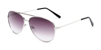 Angle of The Conrad Reading Sunglasses in Silver with Smoke, Women's and Men's Aviator Reading Sunglasses