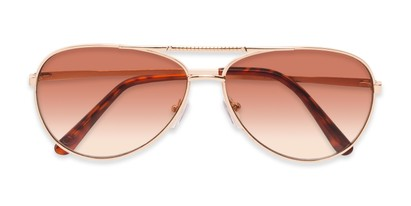 Folded of The Conrad Reading Sunglasses in Gold with Amber