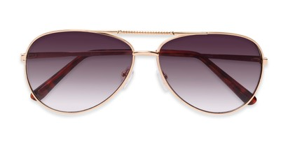 Folded of The Conrad Reading Sunglasses in Gold with Smoke