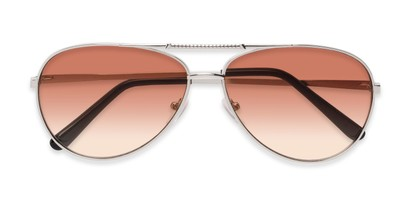 Folded of The Conrad Reading Sunglasses in Silver with Amber