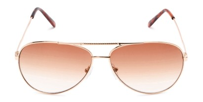 Front of The Conrad Reading Sunglasses in Gold with Amber