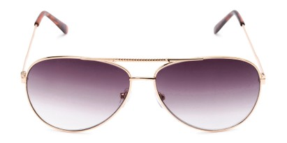 Front of The Conrad Reading Sunglasses in Gold with Smoke