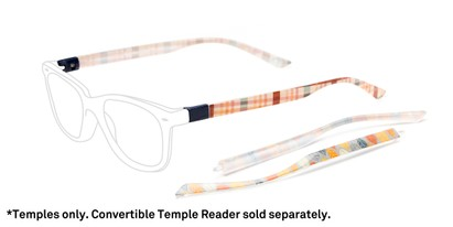 Front of The Fall 2-Set Convertible Temple Add-On Pack in Fall Leaf Print / Fall Plaid Print