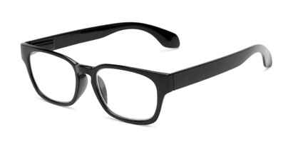 Angle of The Cornwall in Black, Women's and Men's Retro Square Reading Glasses
