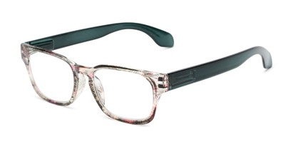 Angle of The Cornwall in Brown Multi/ Green, Women's and Men's Retro Square Reading Glasses