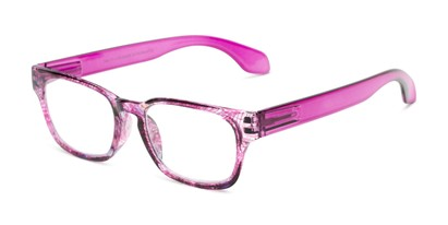 Angle of The Cornwall in Pink Multi/ Berry Pink, Women's and Men's Retro Square Reading Glasses