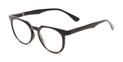 Angle of The Corwin in Black, Women's and Men's Round Reading Glasses