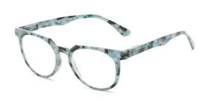 Angle of The Corwin in Blue Marble, Women's and Men's Round Reading Glasses