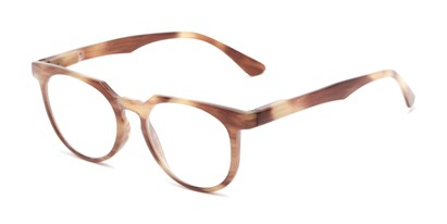 Angle of The Corwin in Brown Stripe, Women's and Men's Round Reading Glasses