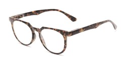 Angle of The Corwin in Dark Brown Marble, Women's and Men's Round Reading Glasses