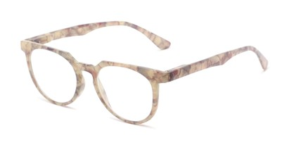 Angle of The Corwin in Tan Marble, Women's and Men's Round Reading Glasses