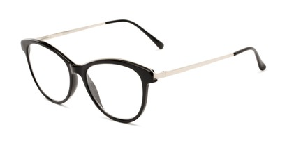 Angle of The Cosette in Black/Silver, Women's Cat Eye Reading Glasses