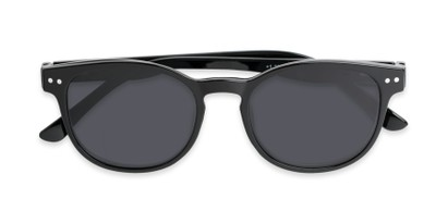 Folded of The Cosmo Polarized Magnetic Bifocal Reading Sunglasses in Black with Smoke