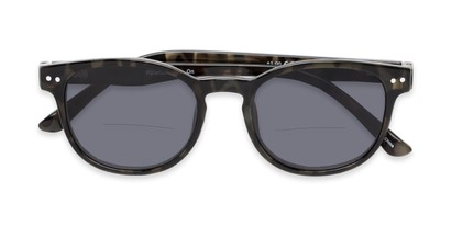 Folded of The Cosmo Polarized Magnetic Bifocal Reading Sunglasses in Grey Tortoise with Smoke