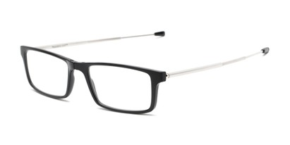 Angle of The Craig Folding Reader in Matte Black with Black case, Women's and Men's Rectangle Reading Glasses