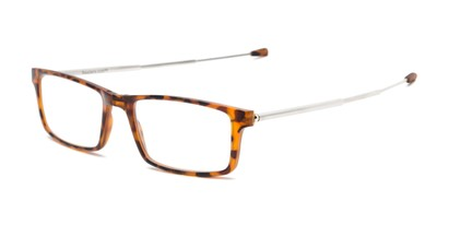 Angle of The Craig Folding Reader in Matte Tortoise with Brown case, Women's and Men's Rectangle Reading Glasses